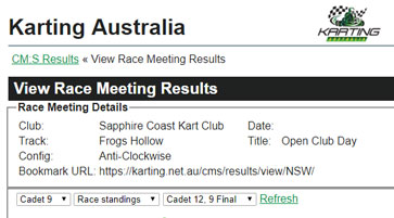 Race Results up until end of 2017
